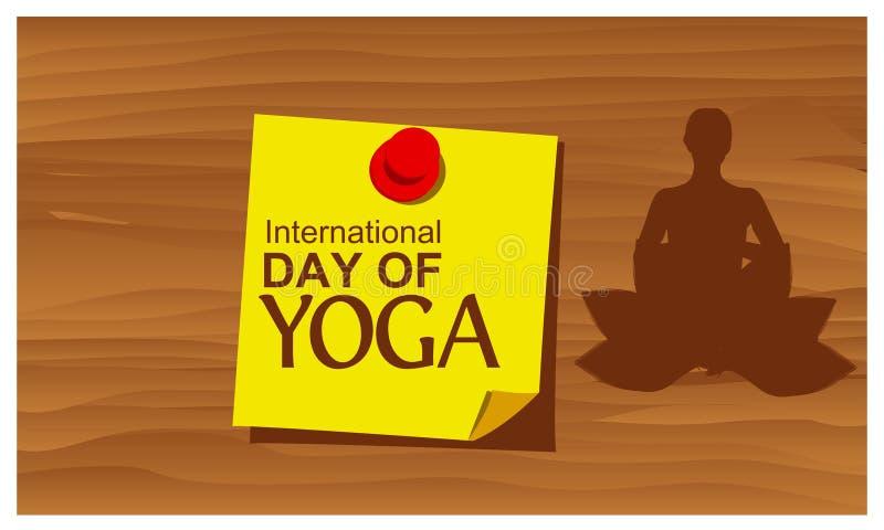 Vetor internacional do dia da ioga da palavra de papel do lembrete Ilustração do vetor ilustração stock