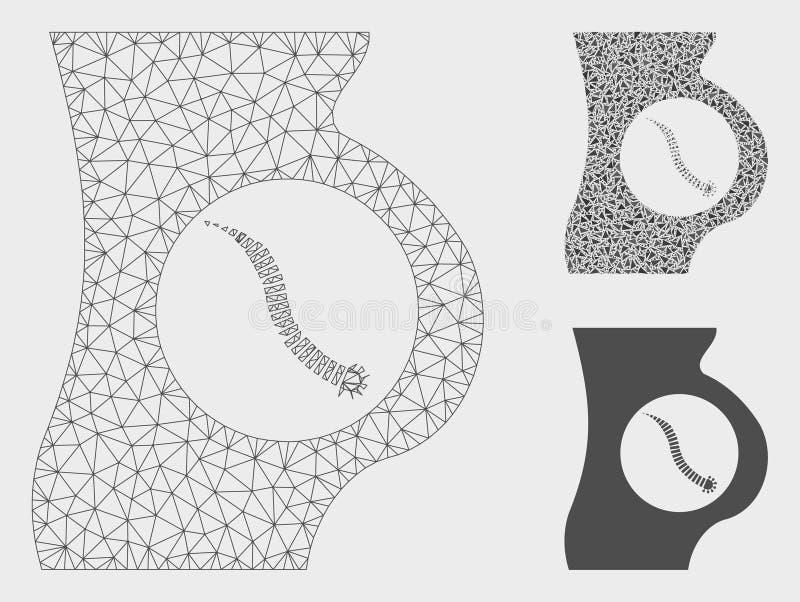 Vetor intestinal Mesh Carcass Model do parasita e ícone do mosaico do triângulo ilustração stock