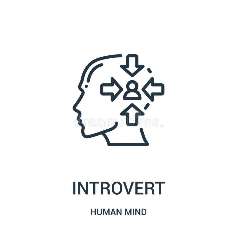 vetor introvertido do ícone da coleção da mente humana Linha fina ilustração introvertida do vetor do ícone do esboço Símbolo lin ilustração stock