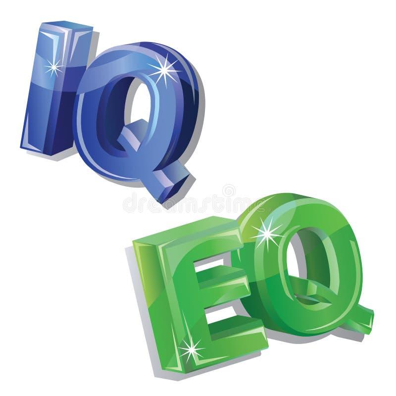 Vetor iq e palavra do eq ilustração royalty free