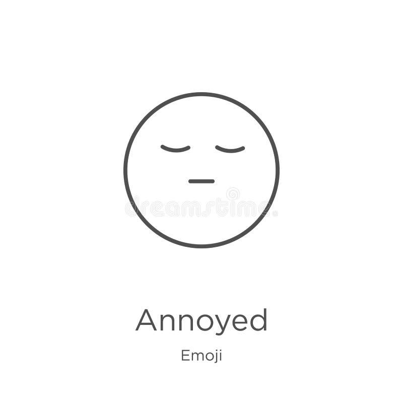 vetor irritado do ícone da coleção do emoji Linha fina ilustração irritada do vetor do ícone do esboço O esboço, linha fina irrit ilustração do vetor