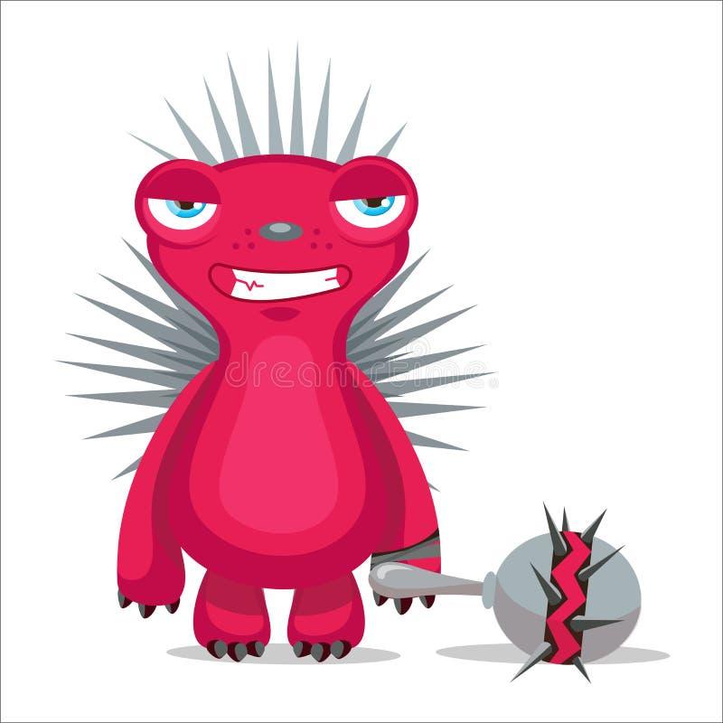 Vetor irritado do ouriço Caráter da mascote dos desenhos animados Ilustração do vetor ilustração stock