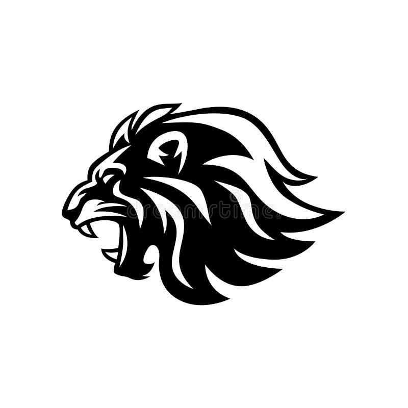 Vetor irritado Logo Design rujir Lion Head Black And White, ilustração ilustração royalty free