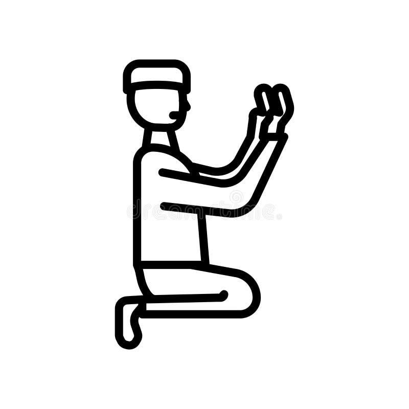 Vetor islâmico do ícone da oração isolado no fundo branco, sinal islâmico da oração ilustração royalty free