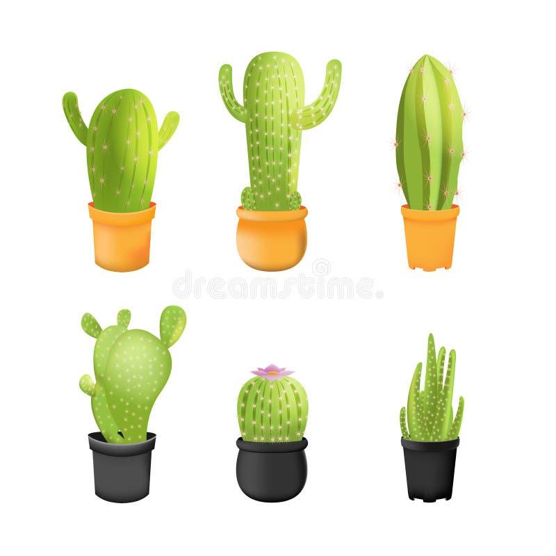 Vetor isolado ajustado ícones das plantas do cacto ilustração royalty free