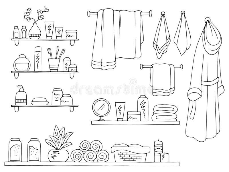 Vetor isolado branco preto gráfico da ilustração do banheiro do esboço do grupo das prateleiras ilustração do vetor