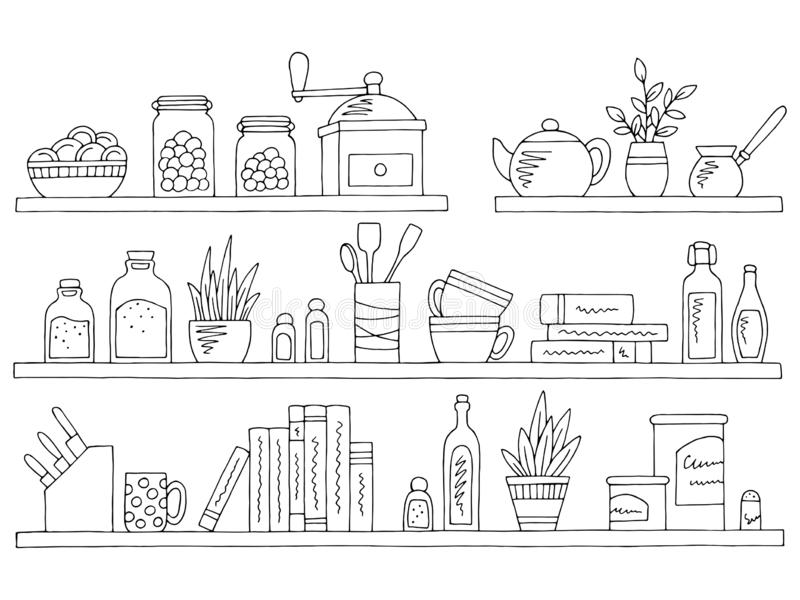 Vetor isolado branco preto gráfico da ilustração do esboço do kitchenware do grupo das prateleiras ilustração stock
