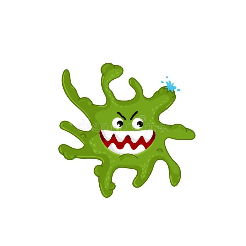Vetor isolado caráter do vírus dos desenhos animados ilustração do vetor