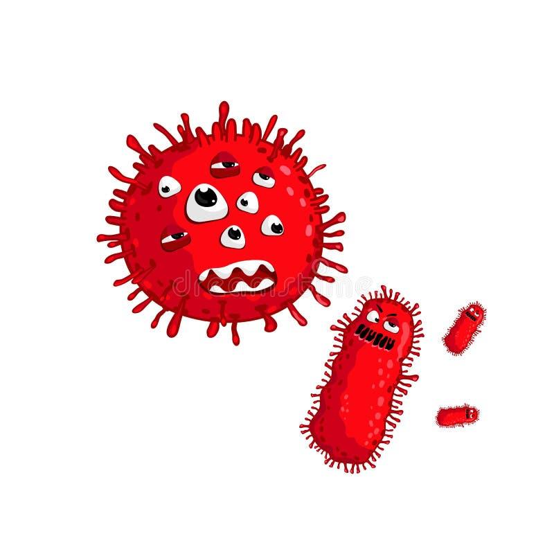 Vetor isolado caráter do vírus dos desenhos animados ilustração stock