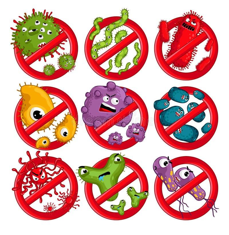Vetor isolado caráteres dos vírus dos desenhos animados ilustração royalty free