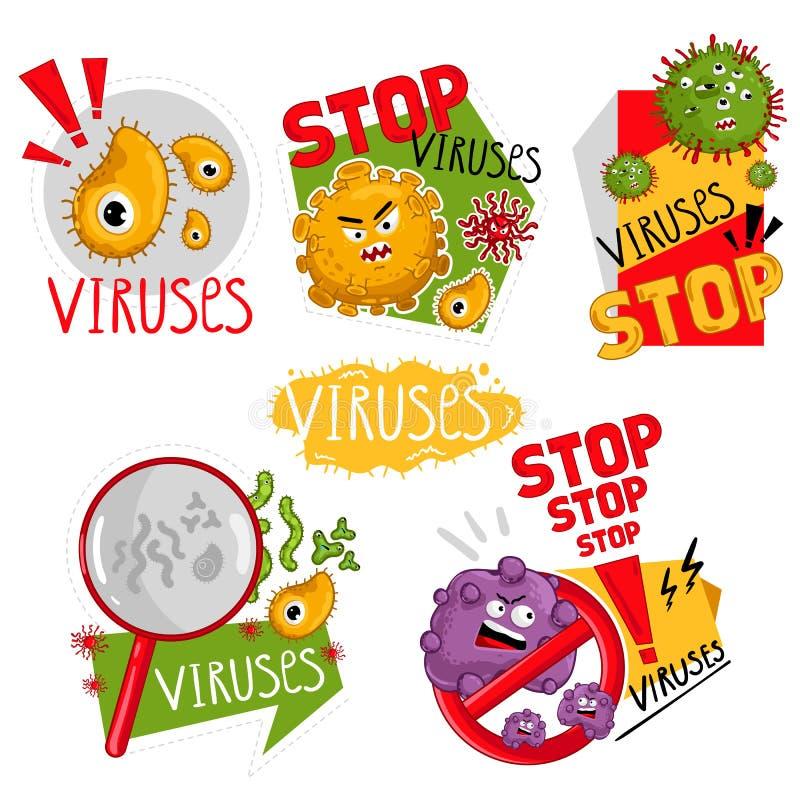 Vetor isolado caráteres dos vírus dos desenhos animados ilustração stock