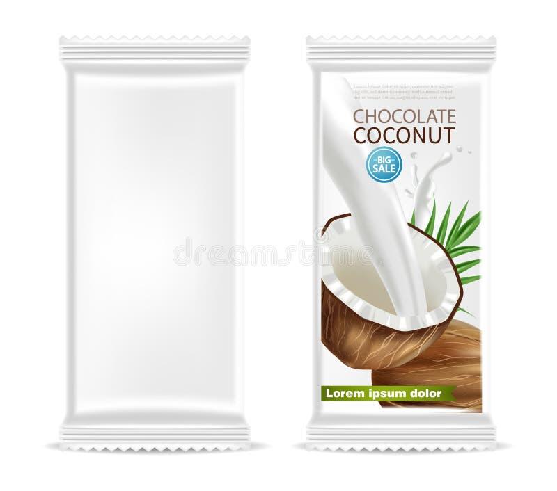 Vetor isolado chocolate do molde do coco realístico projeto de empacotamento da etiqueta do produto r ilustração royalty free
