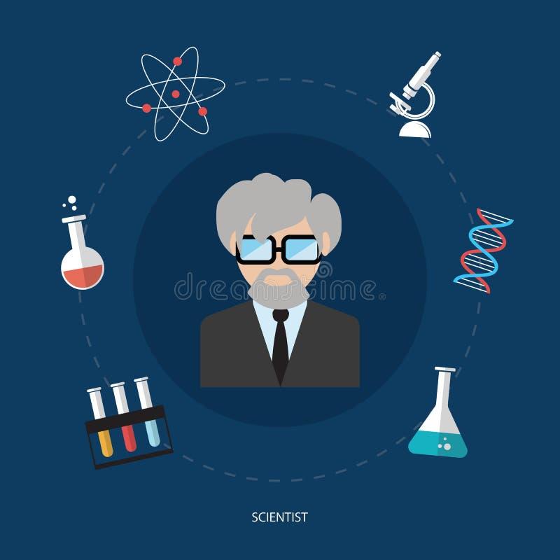 Vetor isolado do conceito de projeto da ciência ícones lisos ilustração do vetor
