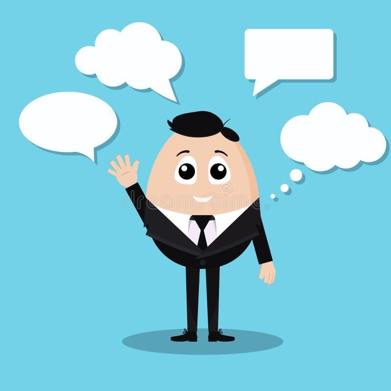 Vetor isolado do homem de negócios de fala no terno preto oficial com camisa e o laço brancos ilustração royalty free