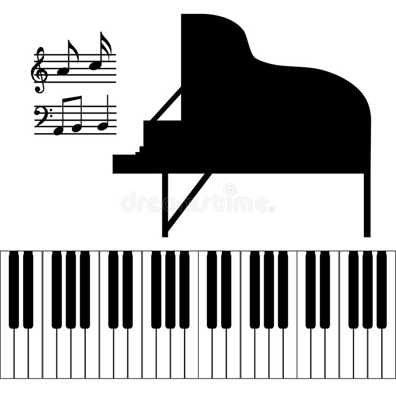 Vetor isolado do piano ilustração do vetor