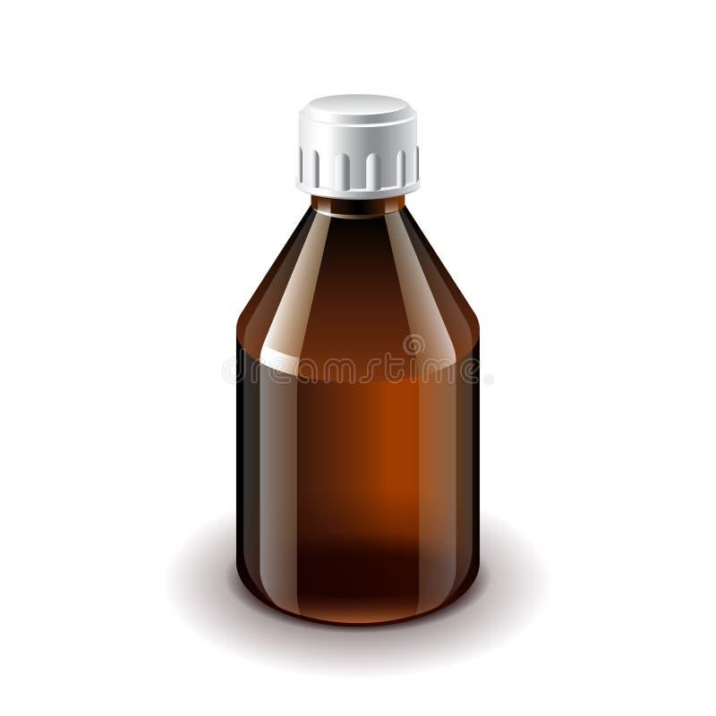 Vetor isolado escuro médico da garrafa de vidro ilustração stock