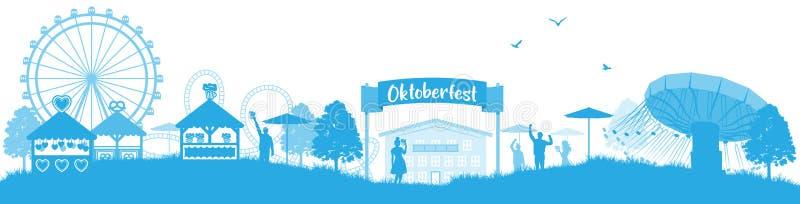 Vetor isolado panorama da skyline do bavaria de Oktoberfest ilustração royalty free