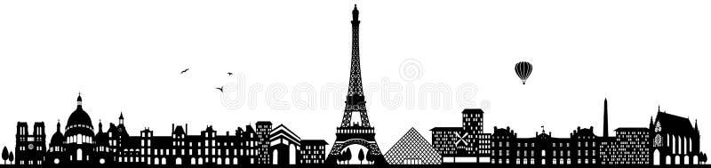 Vetor isolado preto da skyline de Paris france ilustração stock