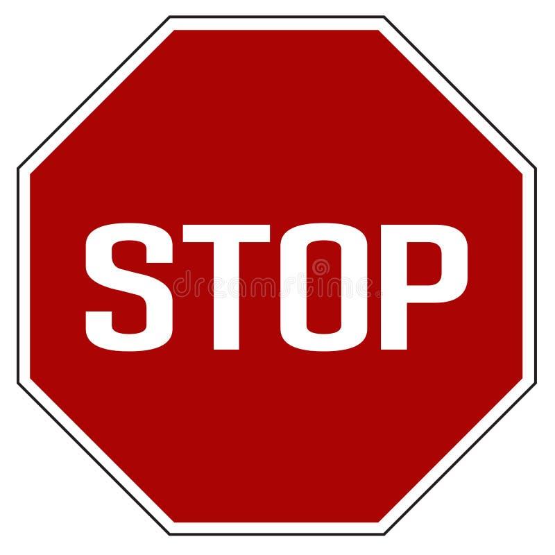 Vetor isolado realístico vermelho do sinal de estrada da parada da etiqueta ilustração do vetor