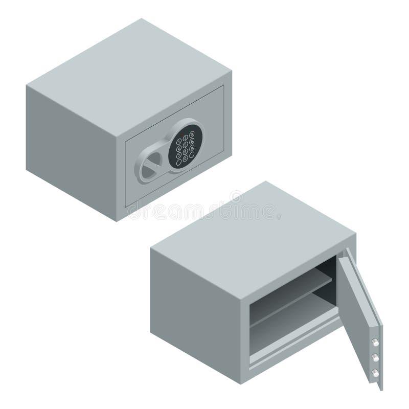 Vetor isométrico aberto e cofre forte fechado da segurança do banco do metal ilustração do vetor