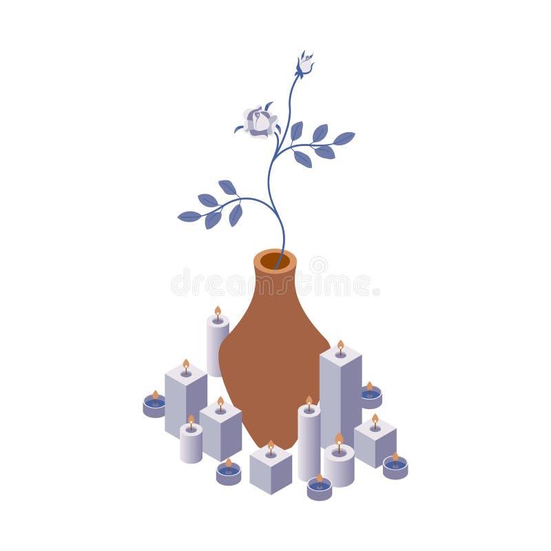Vetor isométrico com flor de rosa em vaso e luzes de velas Objetos 3d isolados em fundo branco para decoração ilustração stock