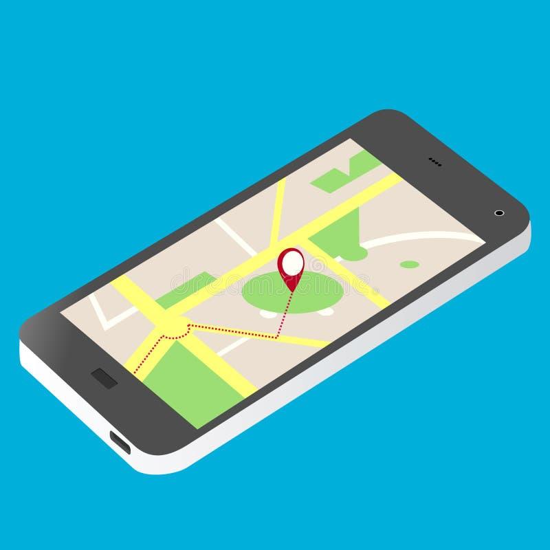 Vetor isométrico da ilustração do celular e do mapa ilustração royalty free