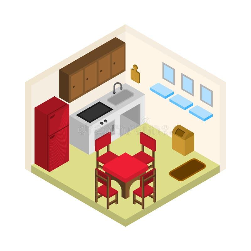 Vetor isométrico da sala da cozinha ilustração royalty free