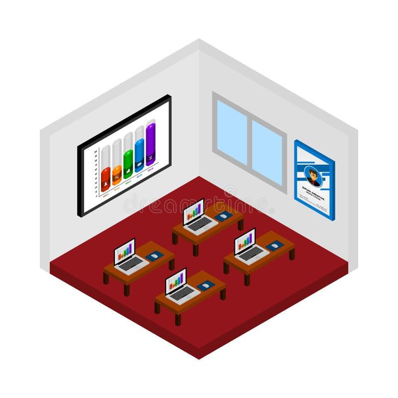 Vetor isométrico da sala do curso do projeto ilustração royalty free