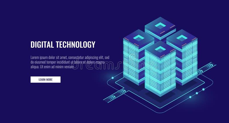 Vetor isométrico da sala do servidor, tecnologia futurista da bandeira da proteção de dados e do processamento, dos trabalhos em  ilustração do vetor