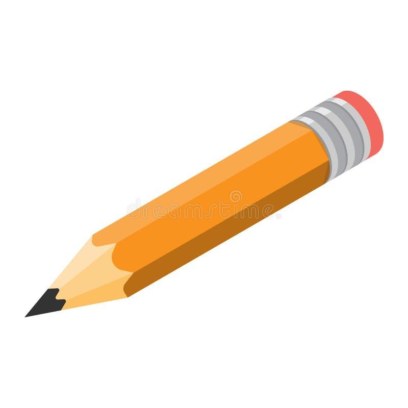 Vetor isométrico do ícone do lápis ilustração royalty free