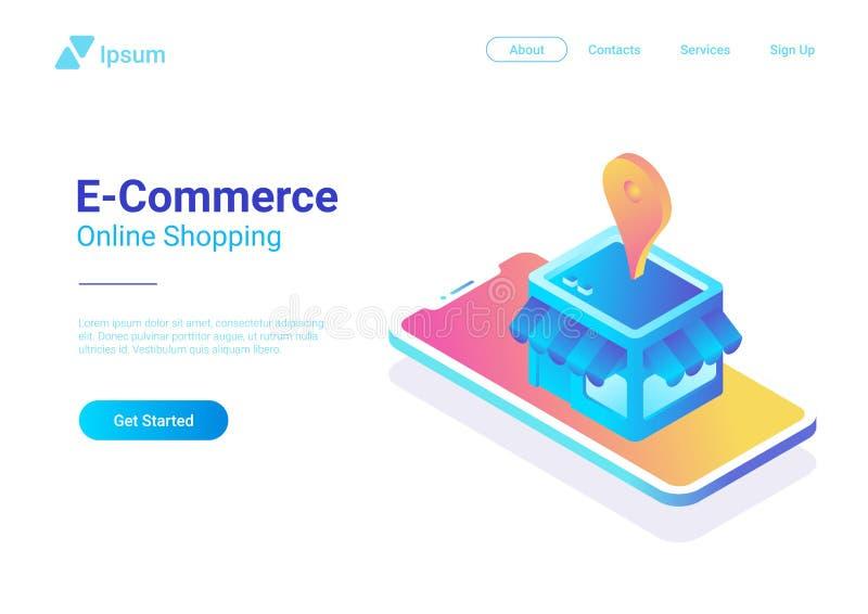 Vetor isométrico do comércio eletrônico Loja da loja da Web em Sma ilustração stock