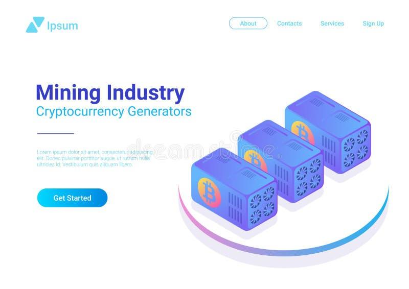 Vetor isométrico dos computadores dos mineiros de Bitcoin mineração ilustração royalty free