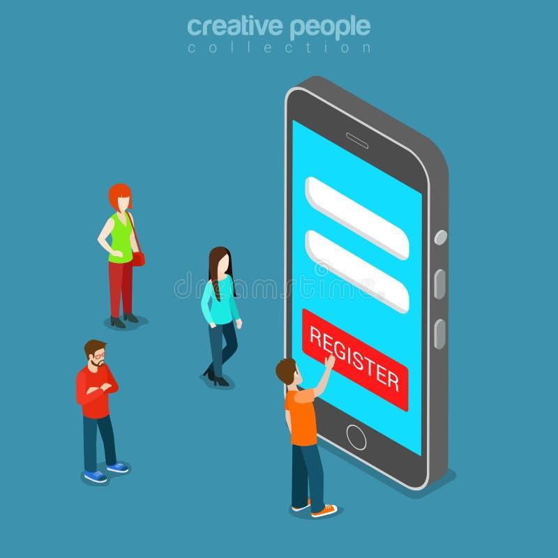 Vetor isométrico liso 3d da senha móvel do início de uma sessão do app do registro ilustração royalty free