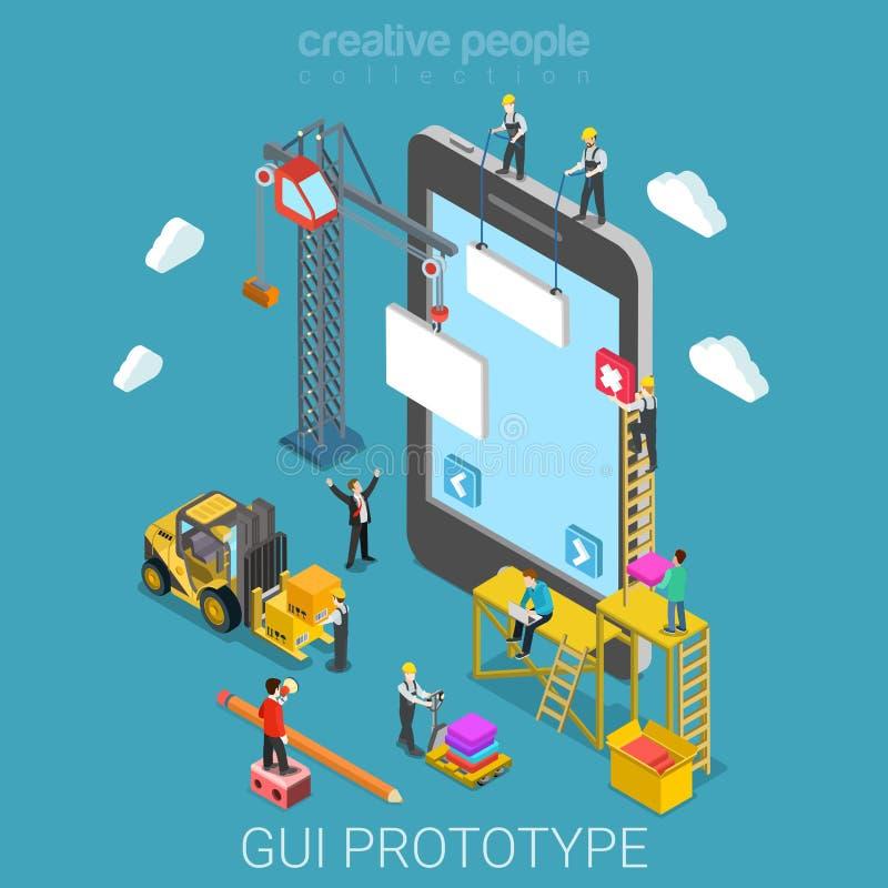 Vetor isométrico liso 3d do desenvolvimento móvel do app do protótipo do GUI ilustração stock