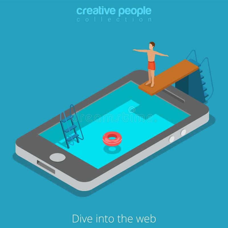 Vetor isométrico liso 3d do telefone móvel da Web surfar de Internet WWW ilustração royalty free