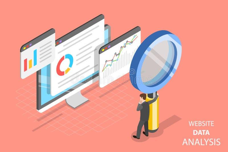 Vetor isométrico liso da análise de dados do Web site ilustração stock