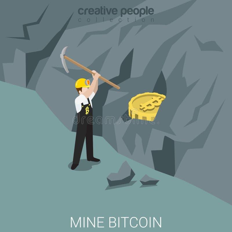 Vetor isométrico liso da moeda da montanha do processo da mina do mineiro de Bitcoin ilustração royalty free