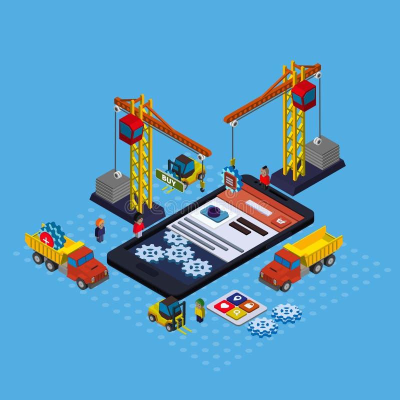 Vetor isométrico liso do desenvolvimento móvel do app ilustração stock