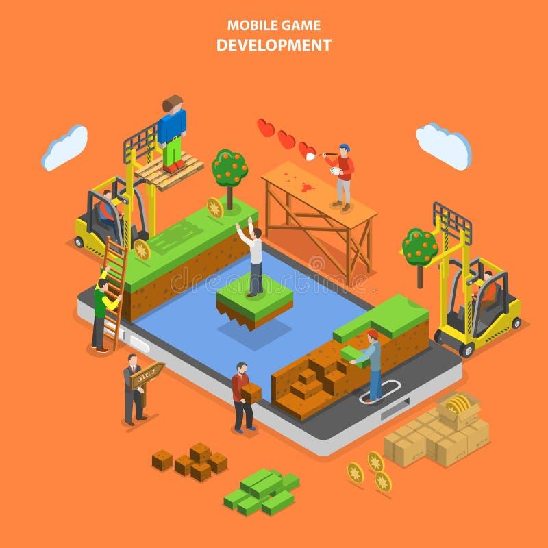 Vetor isométrico liso do desenvolvimento móvel do jogo ilustração royalty free