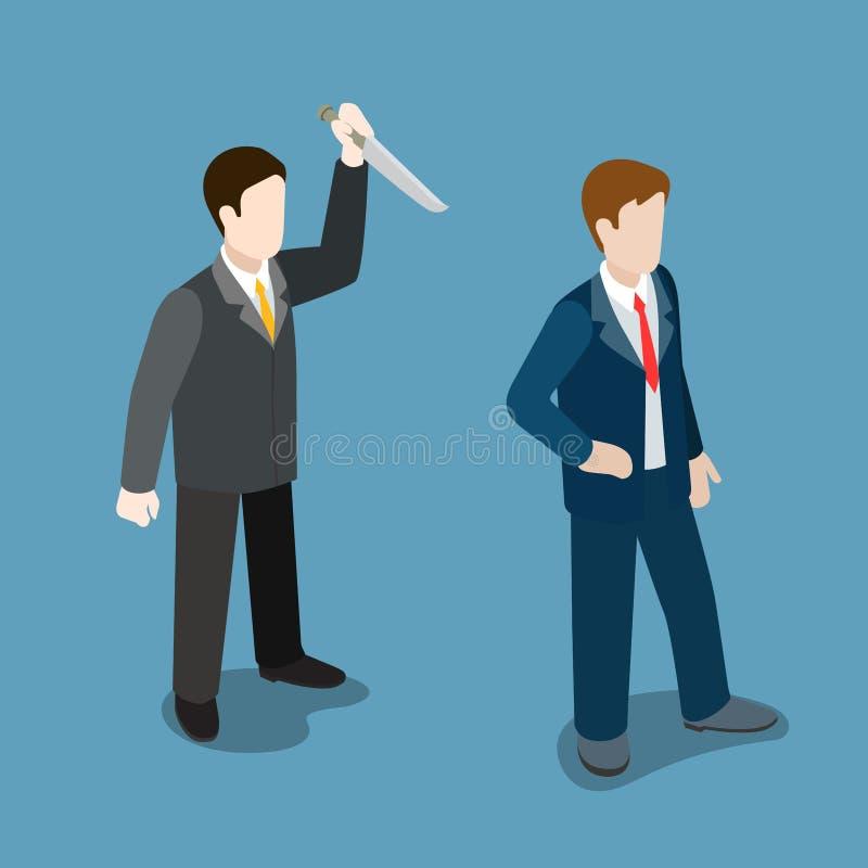 Vetor isométrico liso do truque da malícia da faca dos ataques do homem de negócios ilustração stock