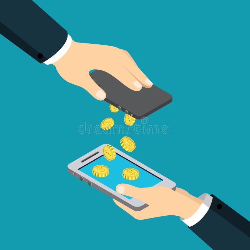 Vetor isométrico liso móvel da transação de transferência do dinheiro do pagamento ilustração royalty free