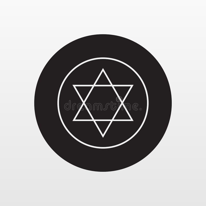 Vetor judaico do ícone da placa da estrela Símbolo liso isolado no fundo branco Conceito na moda do Internet Mo ilustração do vetor