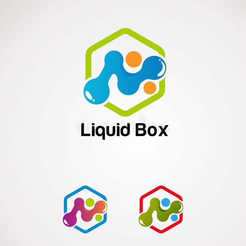 Vetor líquido do logotipo da caixa com ícone, elemento, e molde coloridos do conceito para a empresa ilustração stock