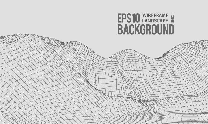 vetor largo do ângulo EPS10 do terreno de 3D Wireframe ilustração stock