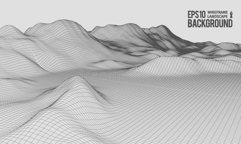 vetor largo do ângulo EPS10 do terreno de 3D Wireframe ilustração do vetor