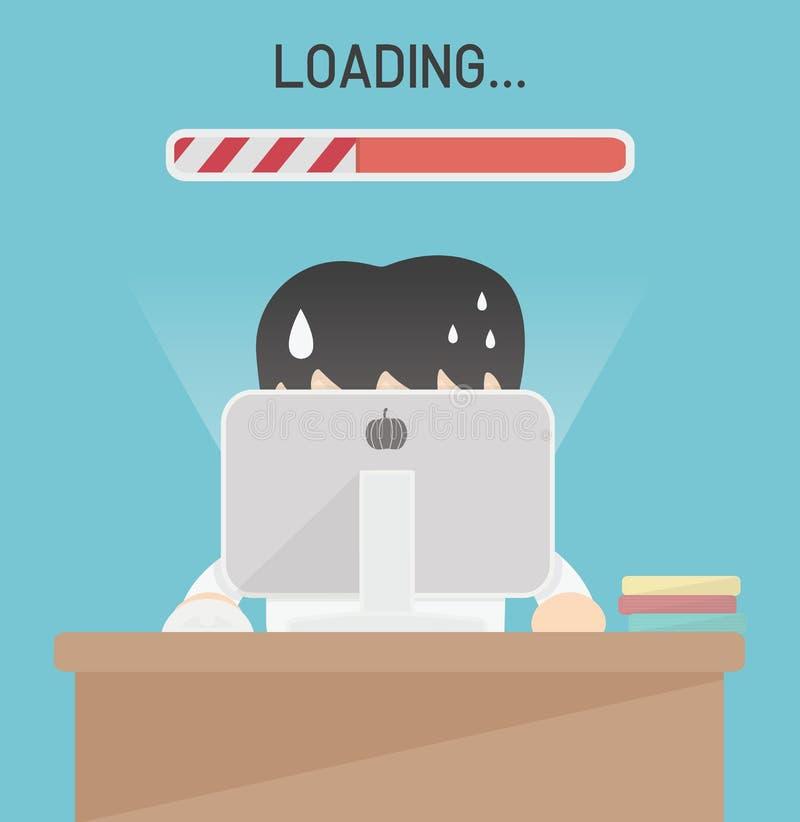 Vetor lento da conexão do computador ilustração stock