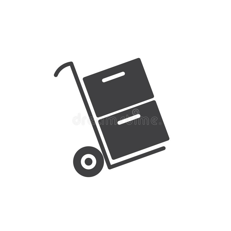 Vetor levando do ícone das caixas do trole ilustração stock