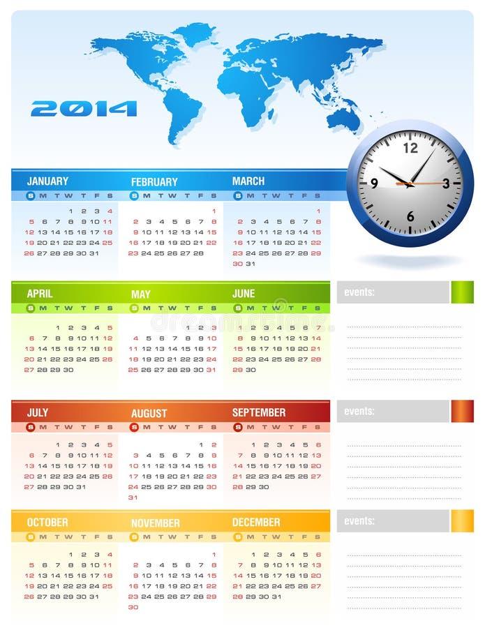 Calendário 2014 incorporado ilustração do vetor