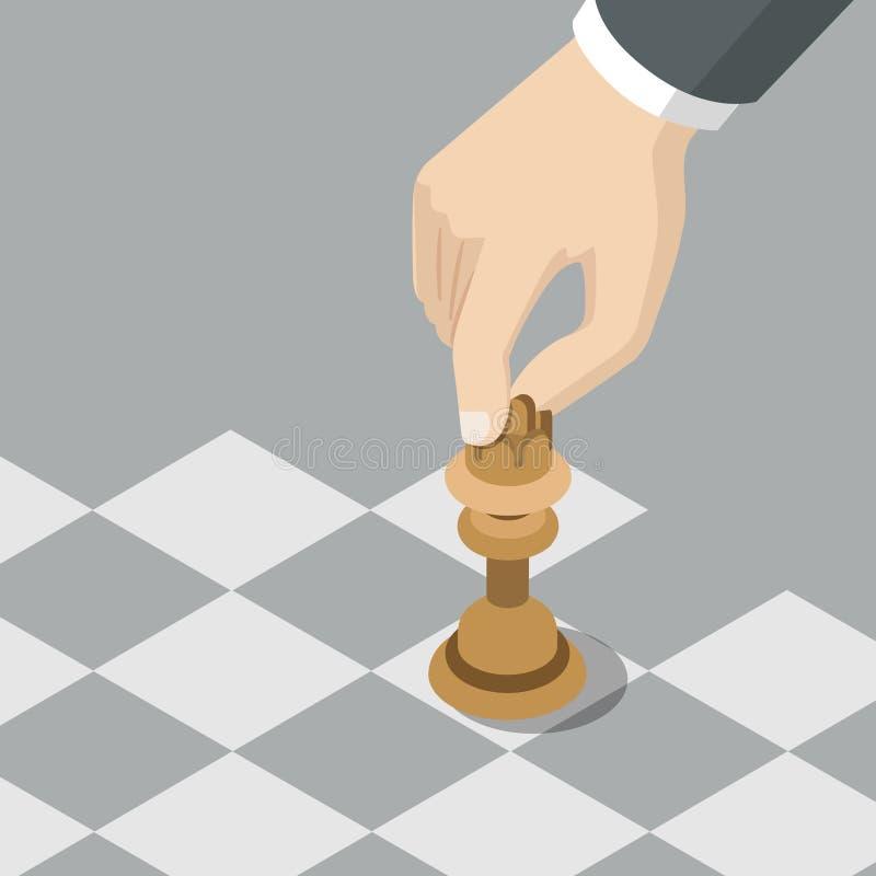 Vetor liso 3d isométrico do negócio da xadrez do movimento do cavaleiro da estratégia ilustração royalty free