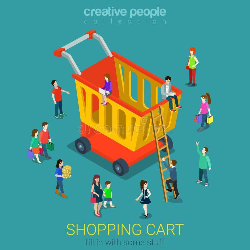 Vetor liso 3d isométrico dos consumidores do comércio eletrônico do carrinho de compras ilustração stock